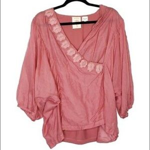 Anthropologie Meadow Rue Pink Wrap Embroidered Top